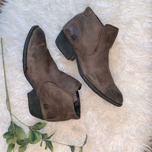 Born Brown Leather Booties with Distressing